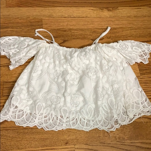 Abercrombie & Fitch Tops - WHITE LACE CROP OFF THE SHOULDER